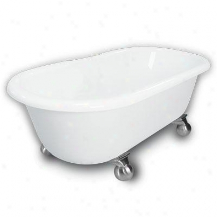 American Bath Factory B1-3700-ww-dm3-m2-35-sn Madeline Double Ended Clawfoot Bathtub In White, Canno