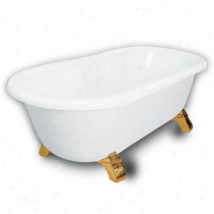 American Bath Factory B1-3700-ww-dm3-m2-45-pb Madeline Double Ended Clawfoot Battub In White, Armad