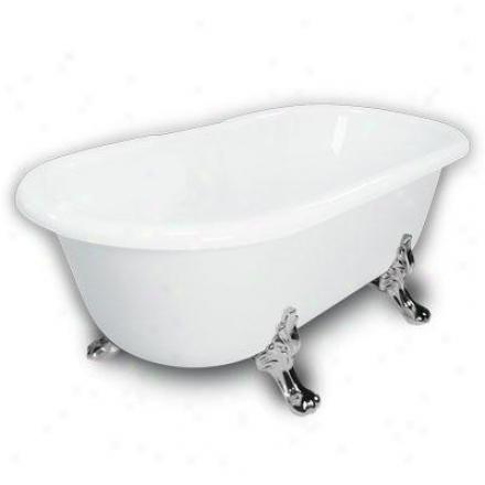 American Bath Factory B1-3700-ww-dm7-m2-25-ch Madeline Double Ended Clawfoot Bathtub In White, Paw F