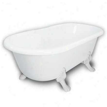 American Bath Factory B1-3700-ww-dm7-m2-25-wh Madeline Double Ended Clawfoot Bathtub In White, Paw F