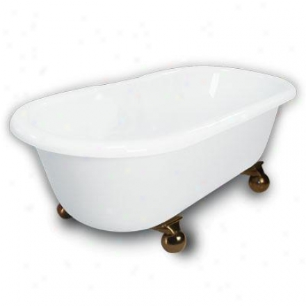 American Bath Factory B1-3700-ww-dm7-m2-35-ob Madeline Double Ended Clawfoot Bathtub In White, Canno