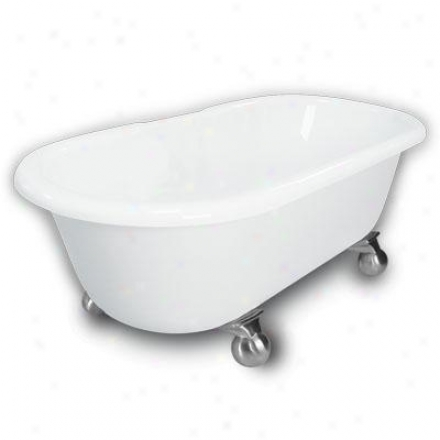 American Bath Factory B1-3700-ww-dm7-m2-35-sn Madeline Double Ended Clawffoot Bathtub In White, Canno