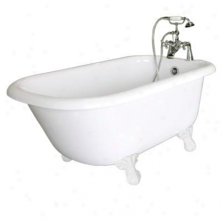 American Bath Factory P1-tc Trinity Standard Bathtub Package Tc In White With Chrome Faucet, Feet, W