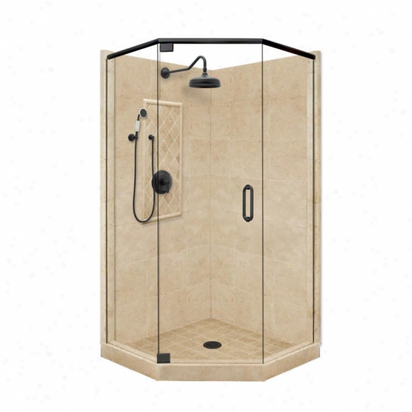 American Bath Factory P21-2006p-ob 48l X 32w Grand Shower Package With Old World Brohze Accessorie