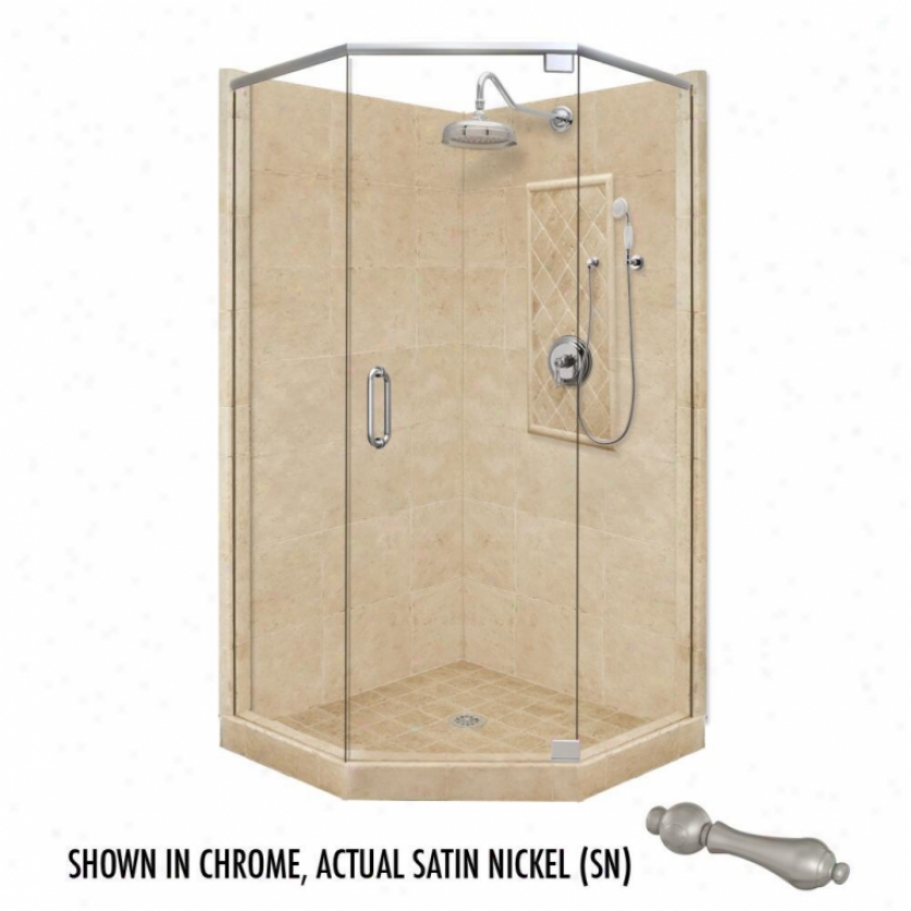 American Bath Factory P21-2029p-sn 54l X 42w Grand Shower Package With Satin Nckel Accessories