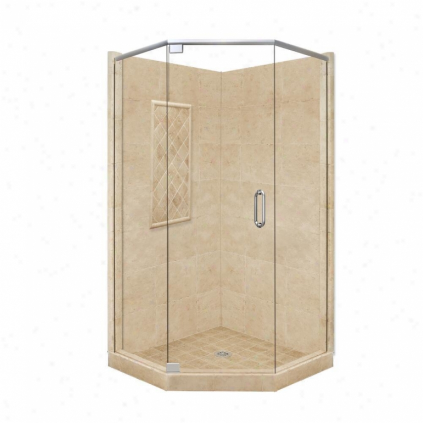 American Bath Factory P21-2112p-ch 48l X 34w Highest Shower Package With Chrome Accessories