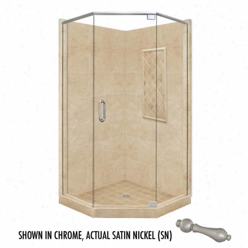 American Bath Factory P21-2115p-sn 60l X 34w Highest Shower Bundle With Satin Nickel Accessories