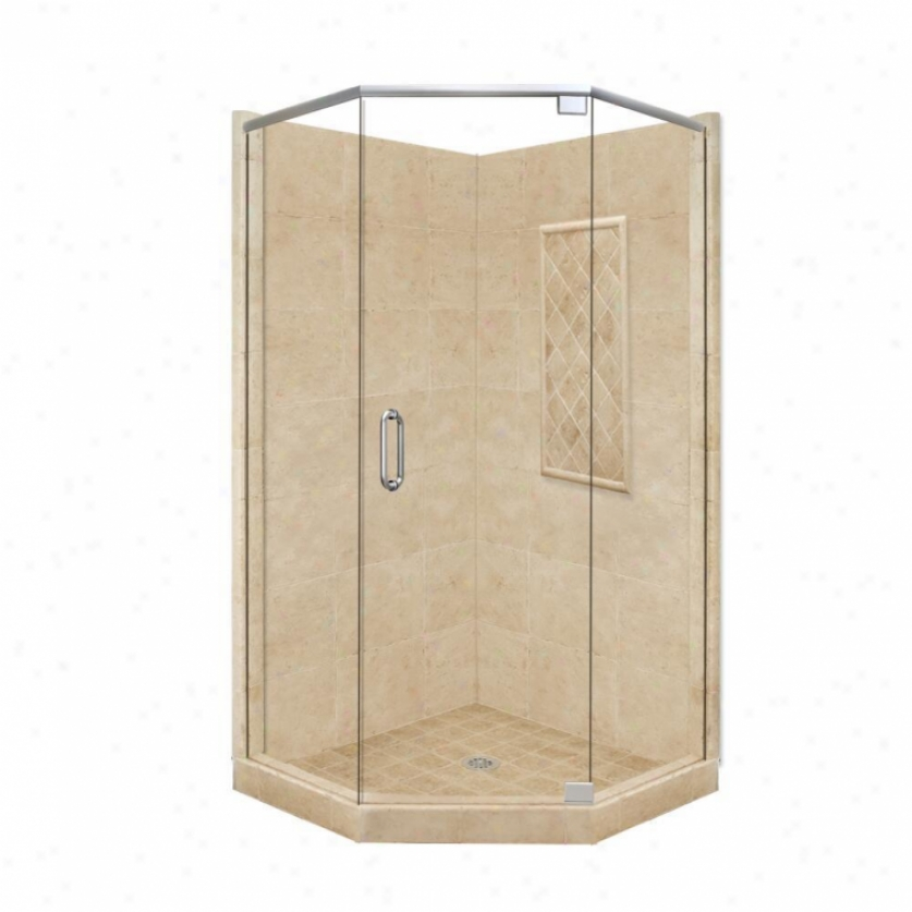 American Bath Factory P21-2131p-ch 48l X 48w Supreme Shower Packagw With Chrome Accessories