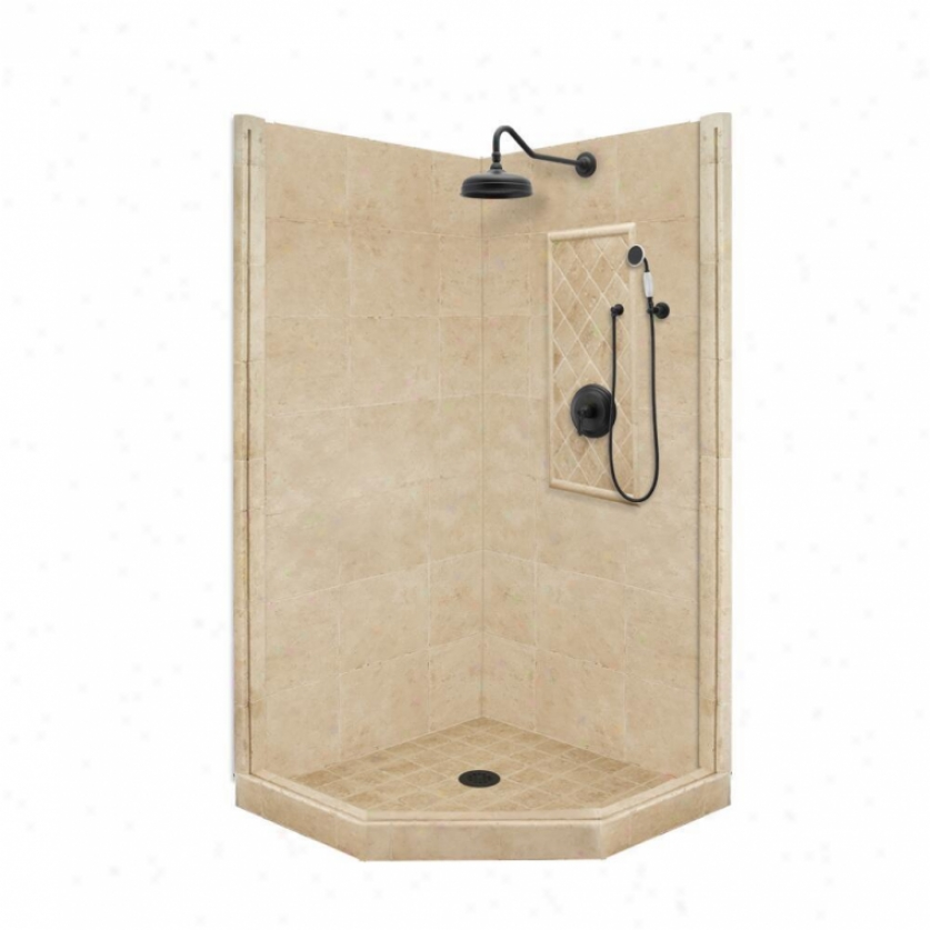 American Bath Factory P21-2201p-ob 60l X 30w Annual rate  Shower Package With Old Worod Bronze Accessor