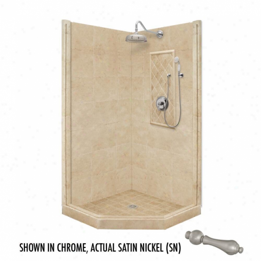American Bath Factory P21-2201p-sn 60l X 30w Premium Shower Package With Satin Nickel Accessories