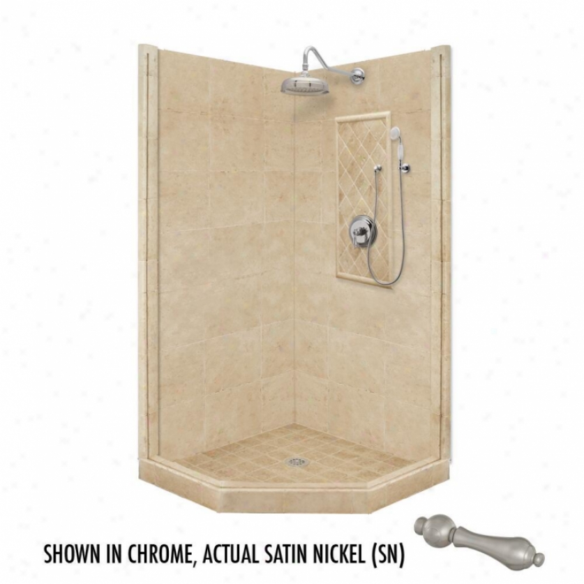 American Bath Factory P21-2203p-sn 36l X 32w Premium Shower Package With Satin Nickel Accessories