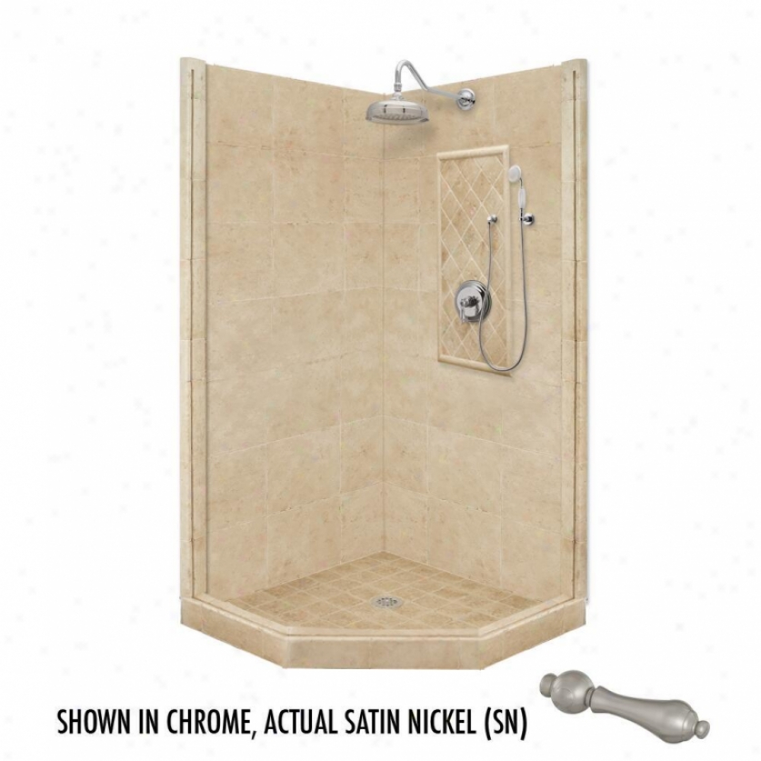 American Bath Factort P21-2207p-sn 54l X 32w Premium Shower Package Wlth Satin Nickel Accessories