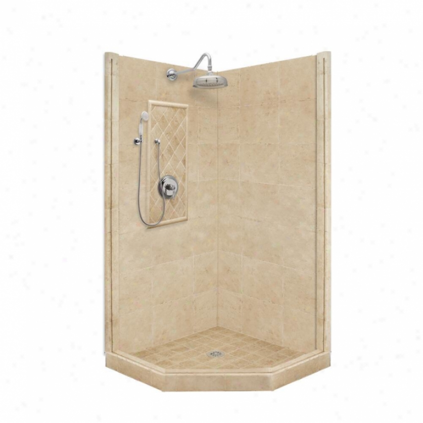 American Bath Factory P21-2212p-ch 48l X 34w Premium Shower Package With Chrome Accessories