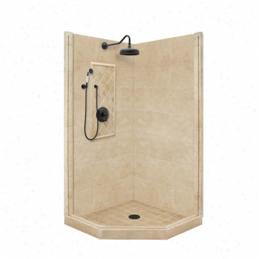 American Bath Factory P21-2214p-ob 54l X 34w Premium Shower Package With Old World Bronze Accessor