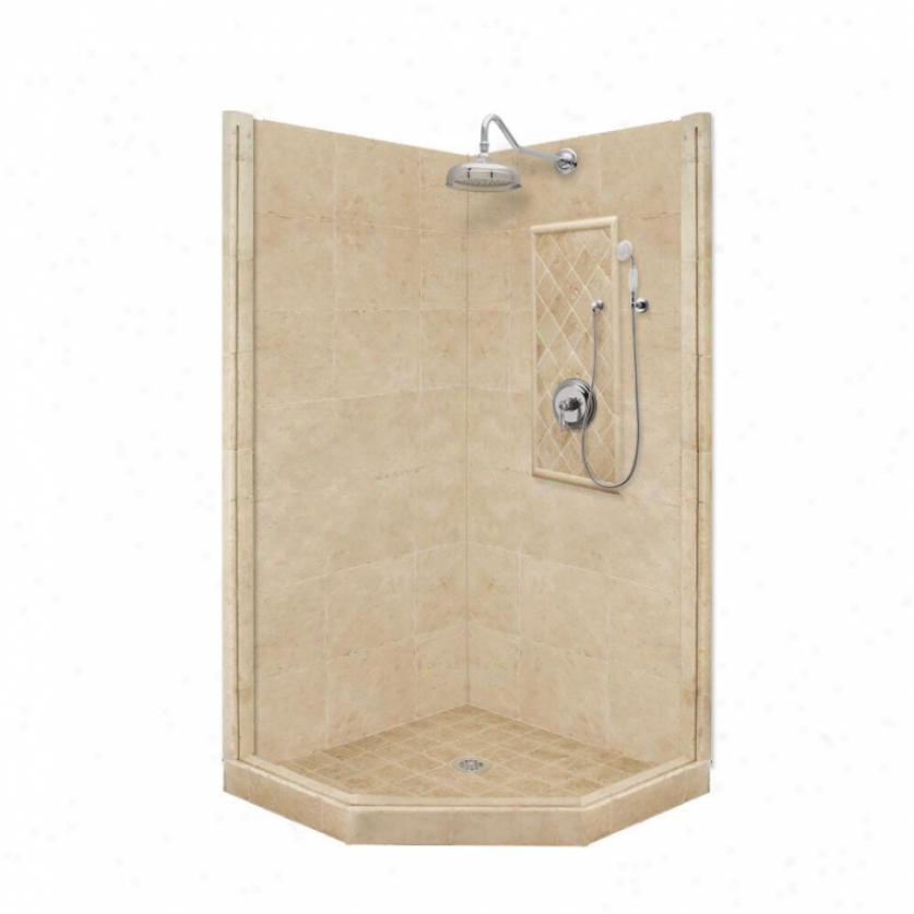 American Bath Factory P21-2229p-ch 54l X 42w Premium Shower Package With Chrome Accessories