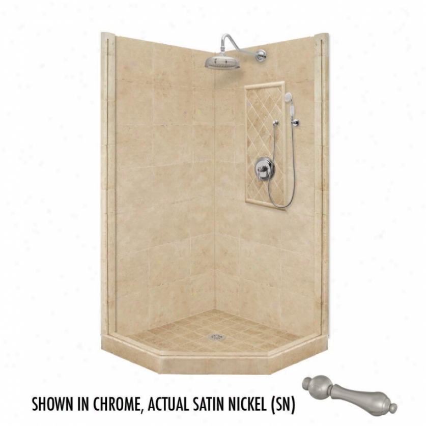 American Bath Factory P21-2231p-sn 48l X 48w Premium Shower Package With Satin Nickel Accessories