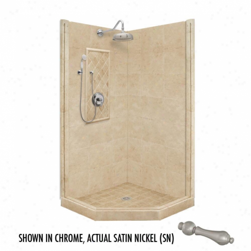 American Bath Factory P21-2236p-sn 54l X 54w Premium Shower Package With Satin Nickel Accessories