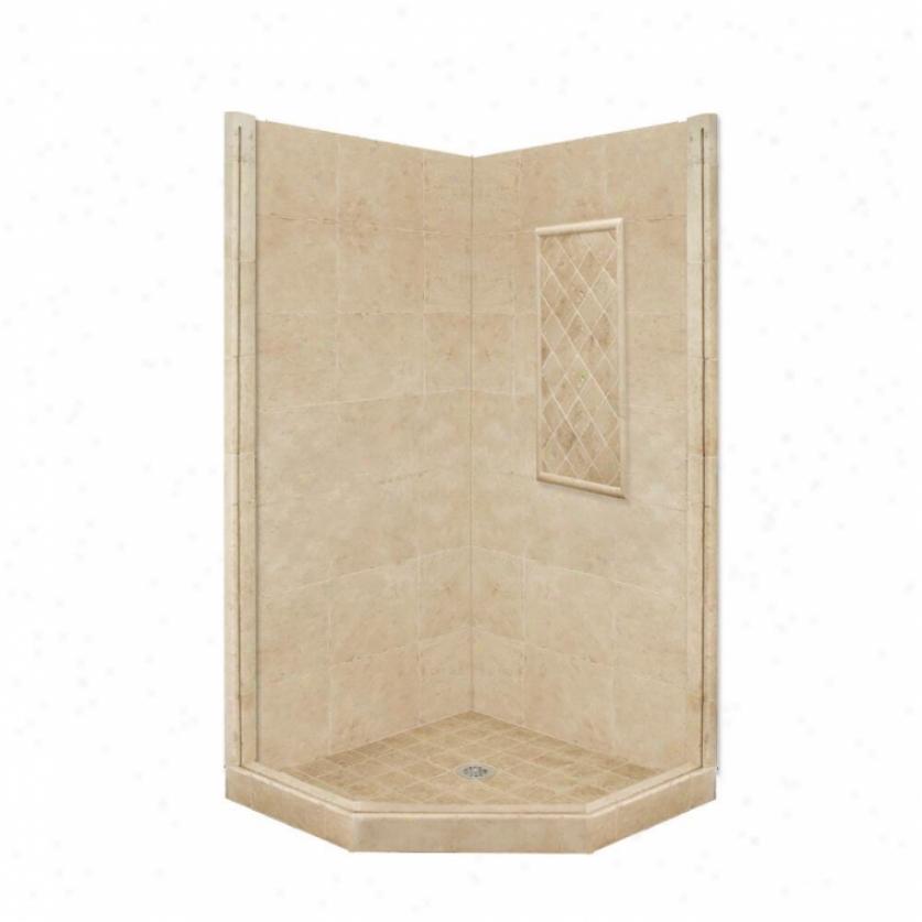 American Bath Manu~ P21-2305p-ch 48l X 32w Basic Shower Packzge With Chrome Accessories