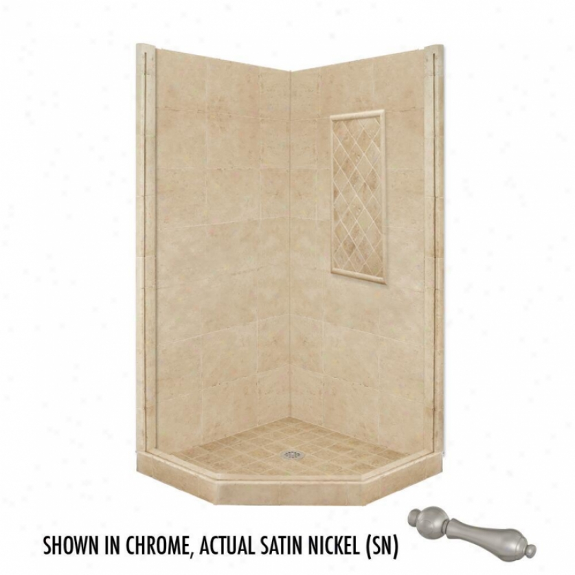 American Bath Factory P21-2307p-sn 54l X 32w Basic Shower Package With Satin Nickel Accessories