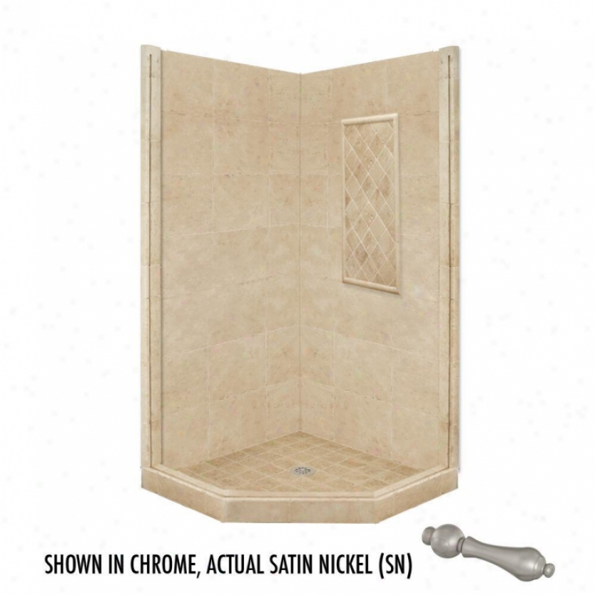 American Bath Factory P21-2323p-sn 60l X 36w Basic Shoer Package With Satin Nickek Accessories