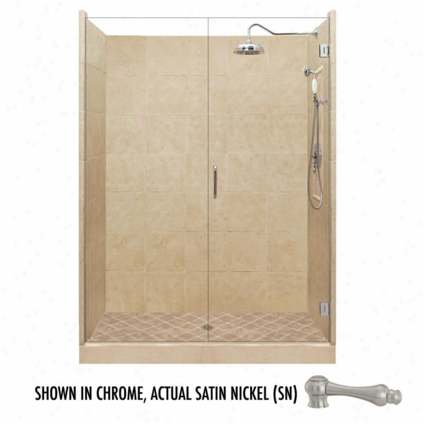 American Bath Factory P21-2516p-sn 481 X 34w Granc Shower Package With Satin Nickel Accessories