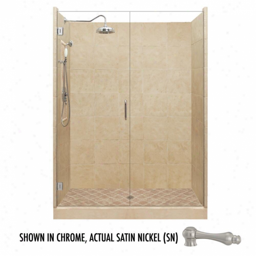 American Bath Factory P21-2527p-sn 54l X 36w Grand Shower Package With Satin Nickel Accessories