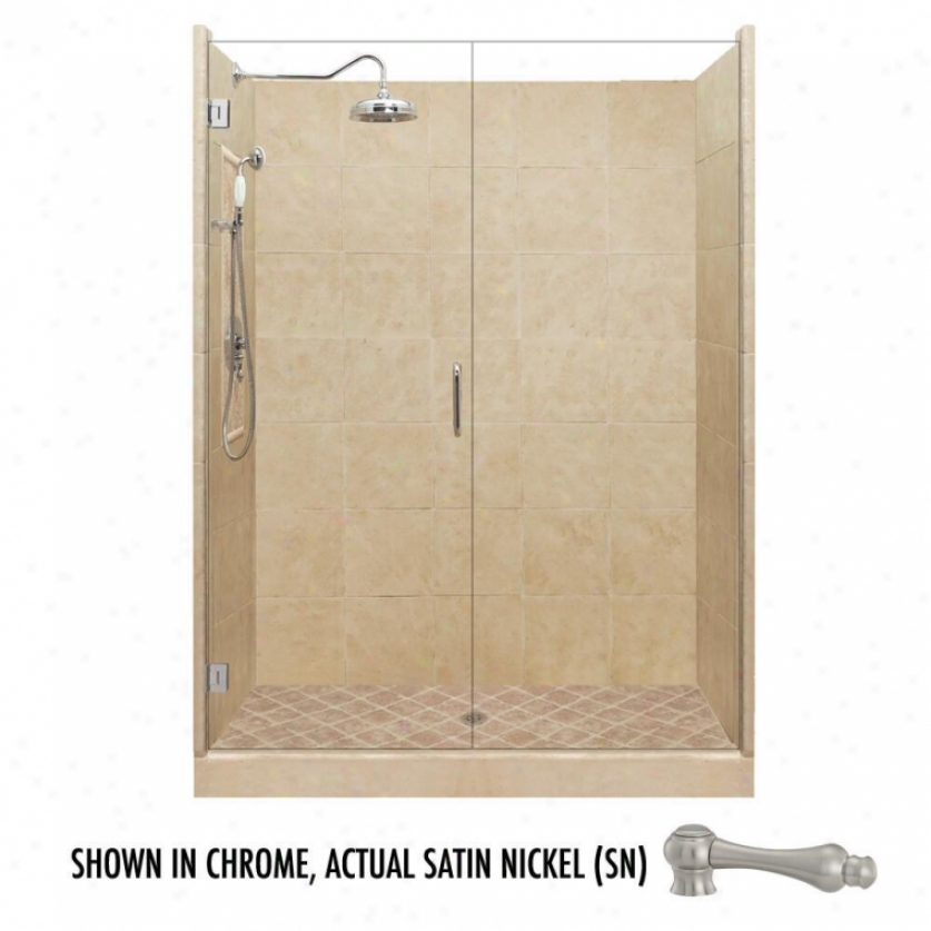 American Bath Factory P21-2543p-sn 54l X 54w Grand Shower Package With Satin Nickel Accessories