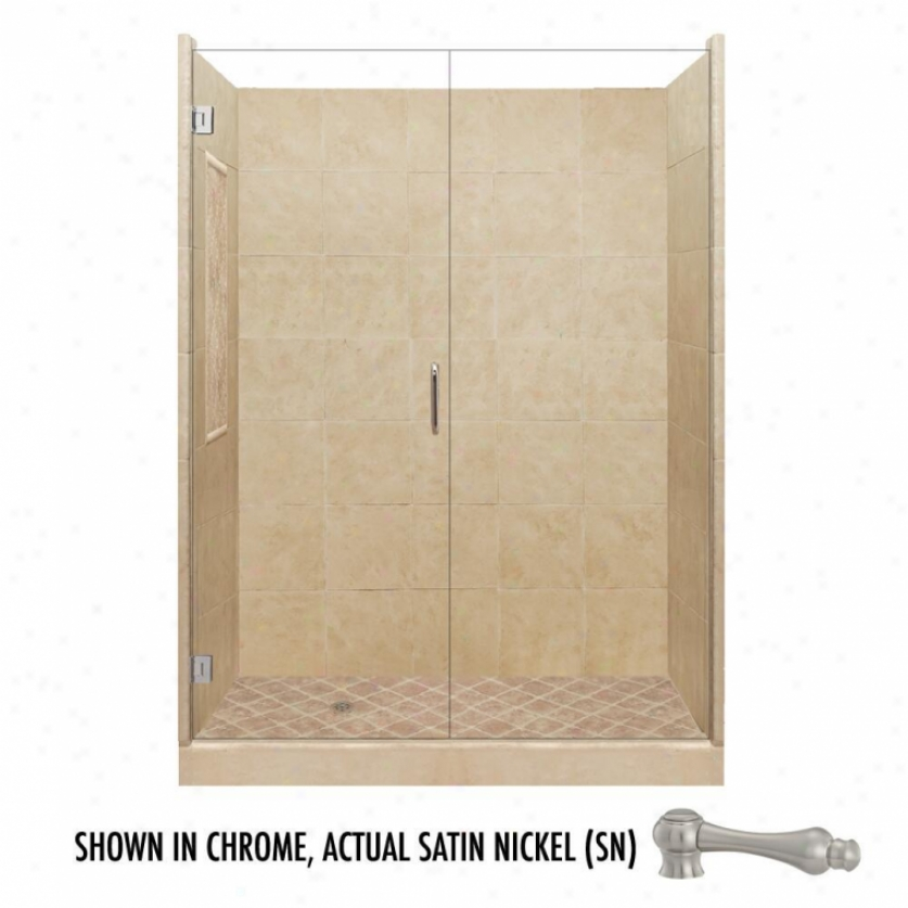 American Bath Favtory P21-2603p-sn 60l X 30w Supreme Shower Package With Satin Nickel Accessories