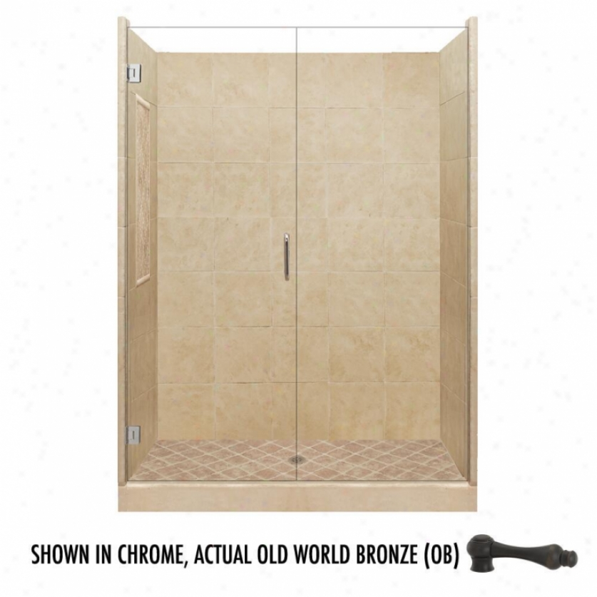 American Bath Factory P21-2609p-ob 54l X 32w Supreme Shower Package With Old World Bronze Accessor