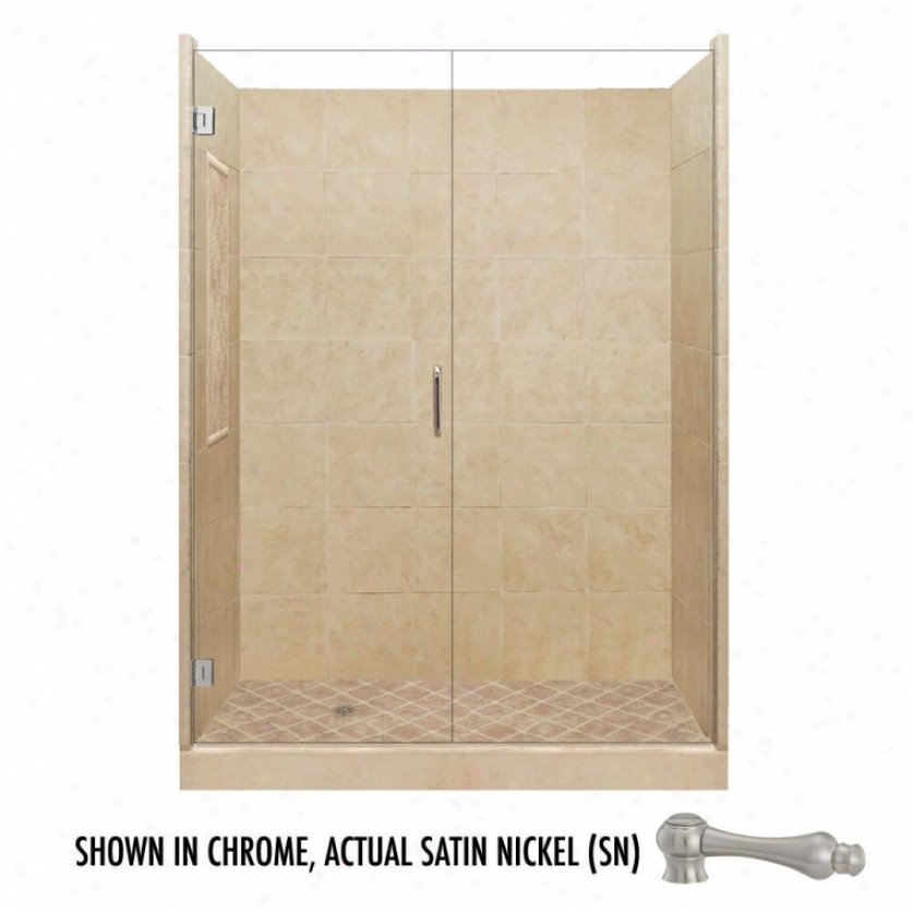 American Bath Factory P21-2613p-sn 60l X 32w Supreme Shower Package With Satin Nickel Accessories