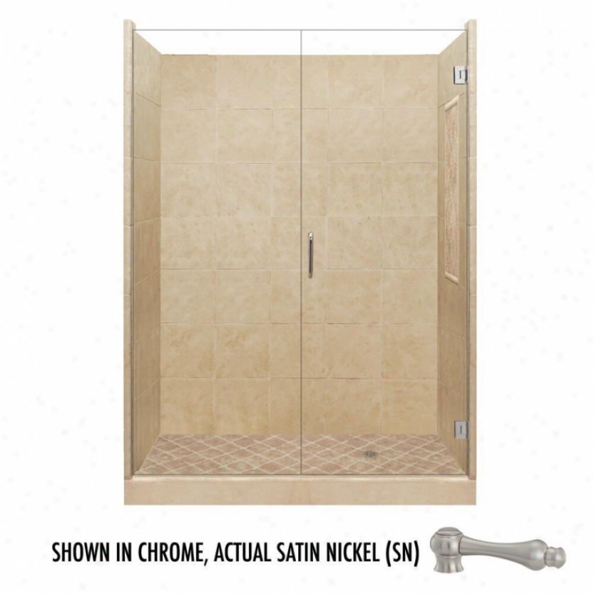American Bath Factory P21-2614p-sn 60l X 32w Supreme Shower Package With Satin Nickel Accessories
