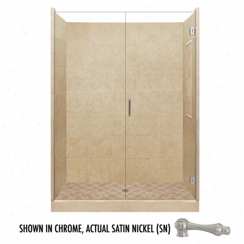 American Bath Factory P21-2640p-sn 48l X 48w Supreme Shower Package With Satin Ncikel Accessories