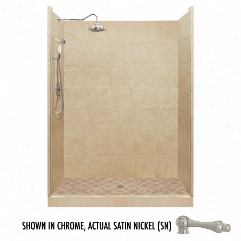 American Bath Factory P21-2701p-sn 60l X 30w Premium Shower Package With Satin Nickel Accessories