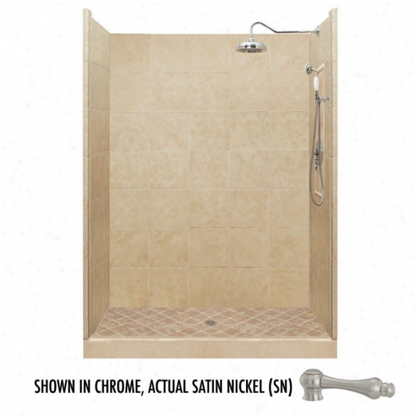 American Bath Factory P21-2710p-sn 54l X 32w Premium Shower Package With Satin Nickel Accessories