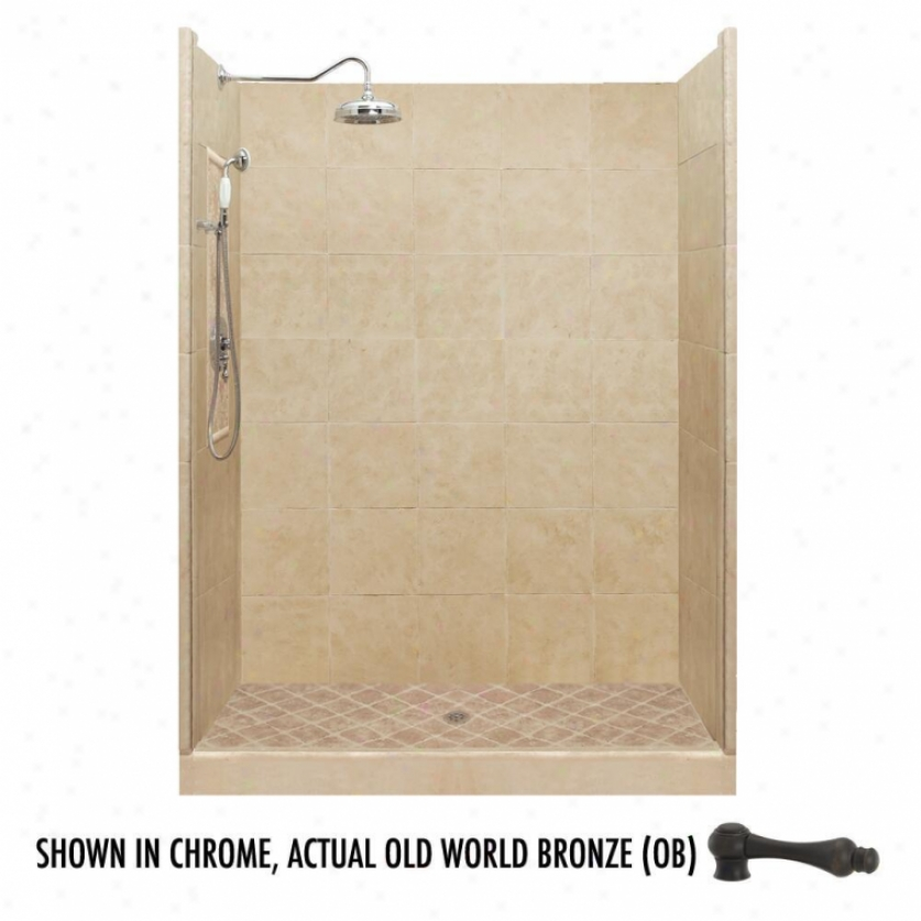 American Bath Factory P21-2711p-ob 60l X 32w Premium Shower Package With Old World Brown Accessor