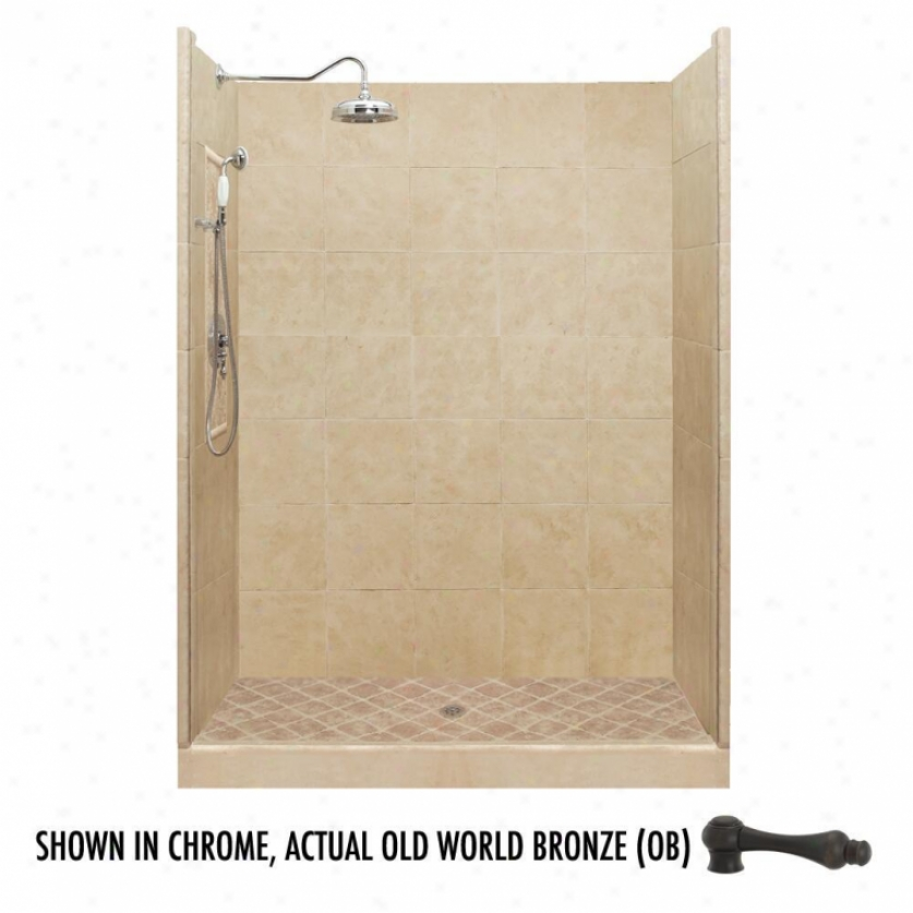 American Bath Factory P21-2717p-ob 54l X 34w Premium Shower Package With Thoughtful World Bronze Accessor