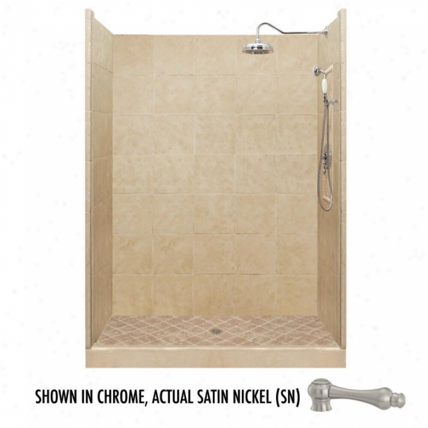 American Bath Factry P21-2734p-sn 42l X 42w Premium Shower Package With Satin Nickel Accessories
