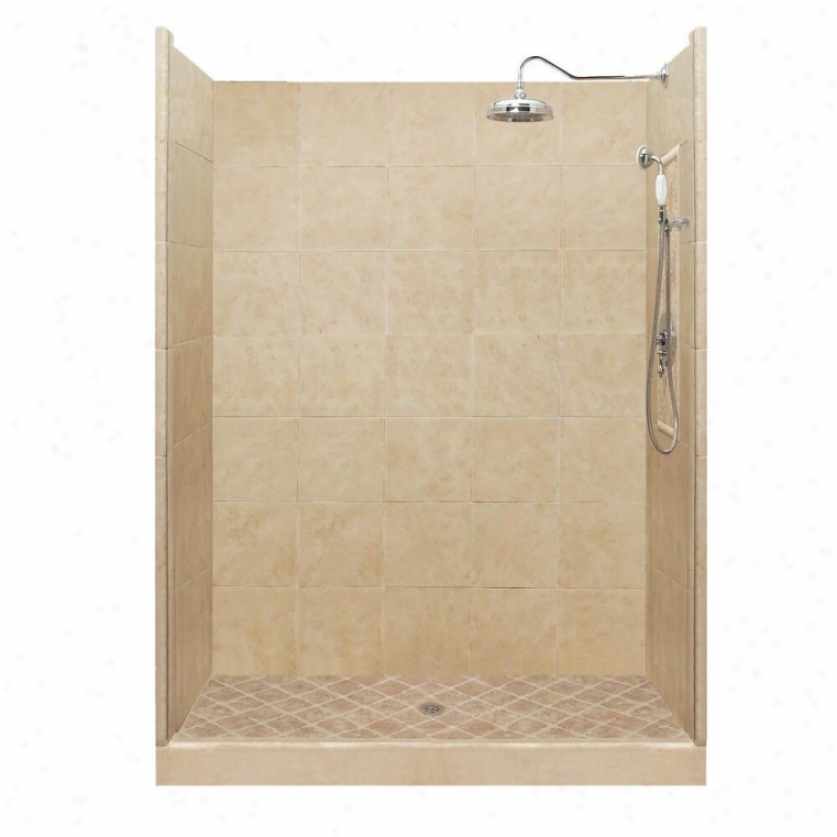 American Bath Factory P21-2740p-ch 48l X 48w Premium Shower Package With Chrome Accessories