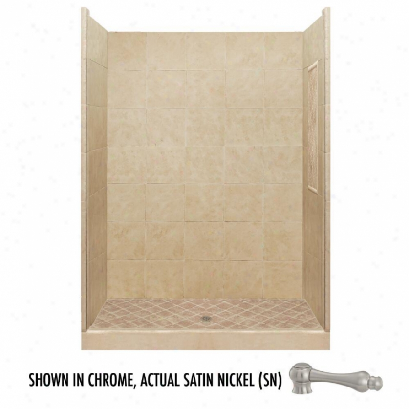 American Bath Factory P21-2808p-sn 48l X 32w Basic Shower Package With Satin Nickel Accessories