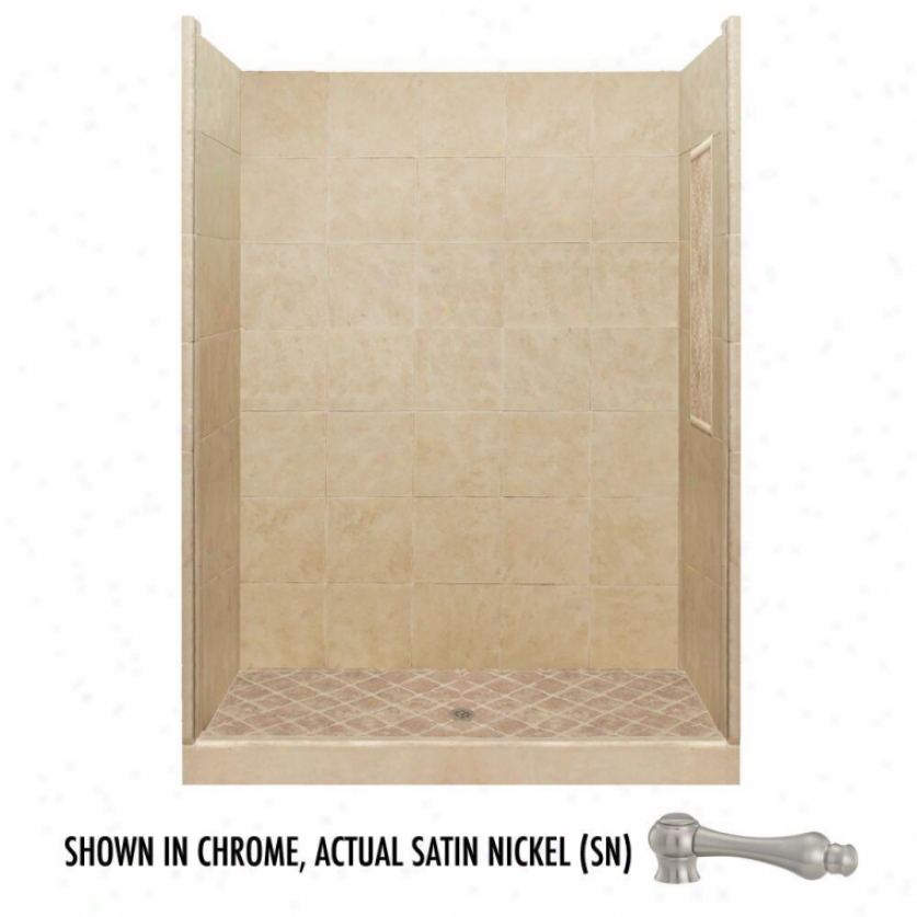 American Bath Factory P21-2840p-sn 48l X 48w Basic Shower Package With Satin Nickel Accessories