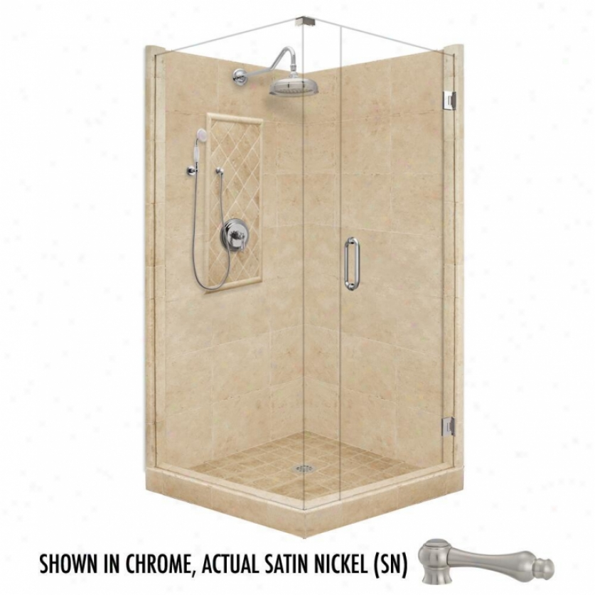 American Bath Factory P21-3028p-sn 42l X 42w Grand Shower Package With Satin Nickel Accessories