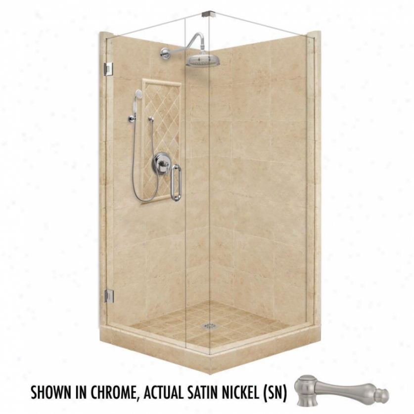 American Bath Factory P21-3033p-sn 48l X 48w Grand Shower Psckage With Satin Nickel Accessories