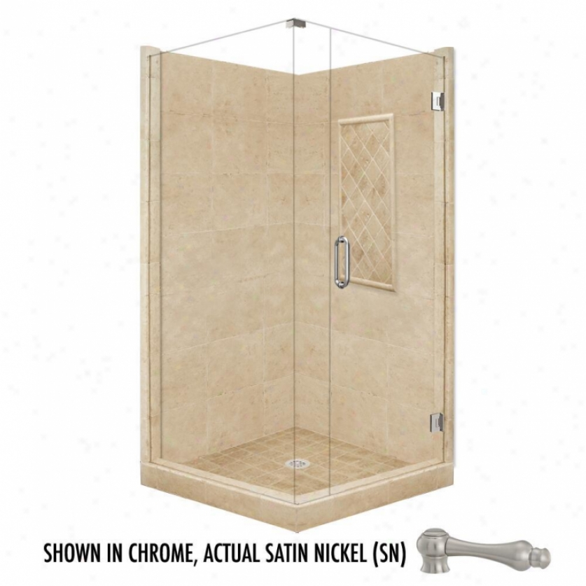 American Bath Factory P21-3130p-sn 48l X 42w Supreme Shower Package With Satin Nickel Accessories