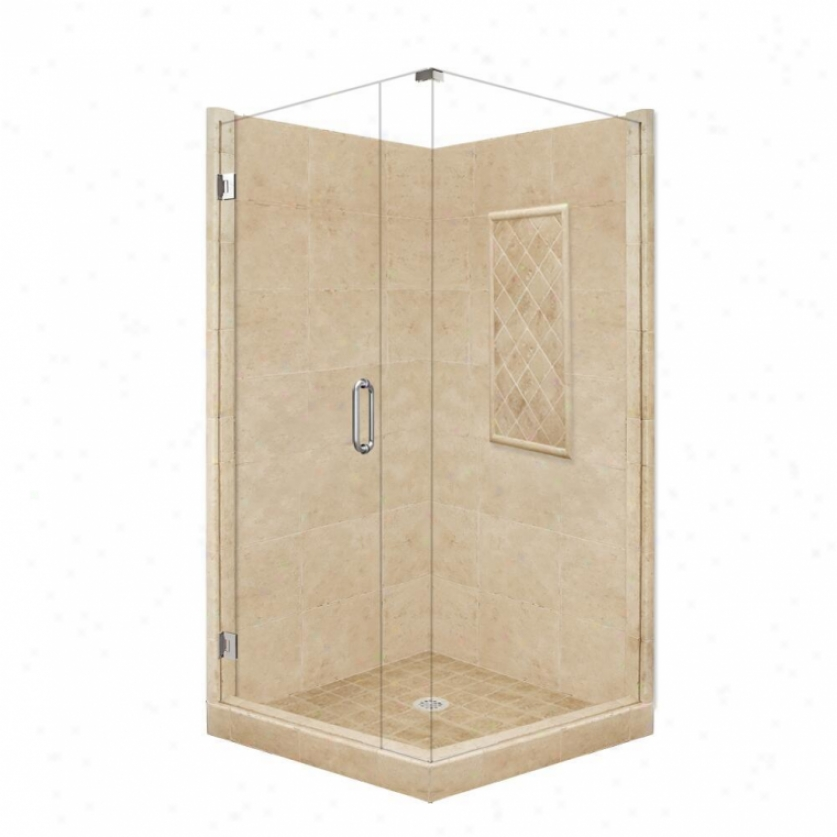 American Bath Factory P21-3133p-ch 48l X 48w Supreme Shower Package With Chrome Accessories