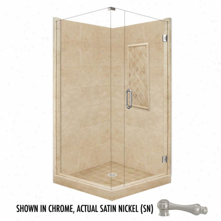 American Bath Factory P21-3134p-sn 48l X 48ww Highest Shower Package With Satin Nickel Accessories