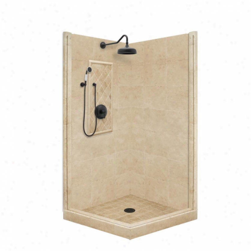 Americn Bath Factory P21-3211p-ob 54l X 34w Premium Shower Package With Old World Bronze Accessor