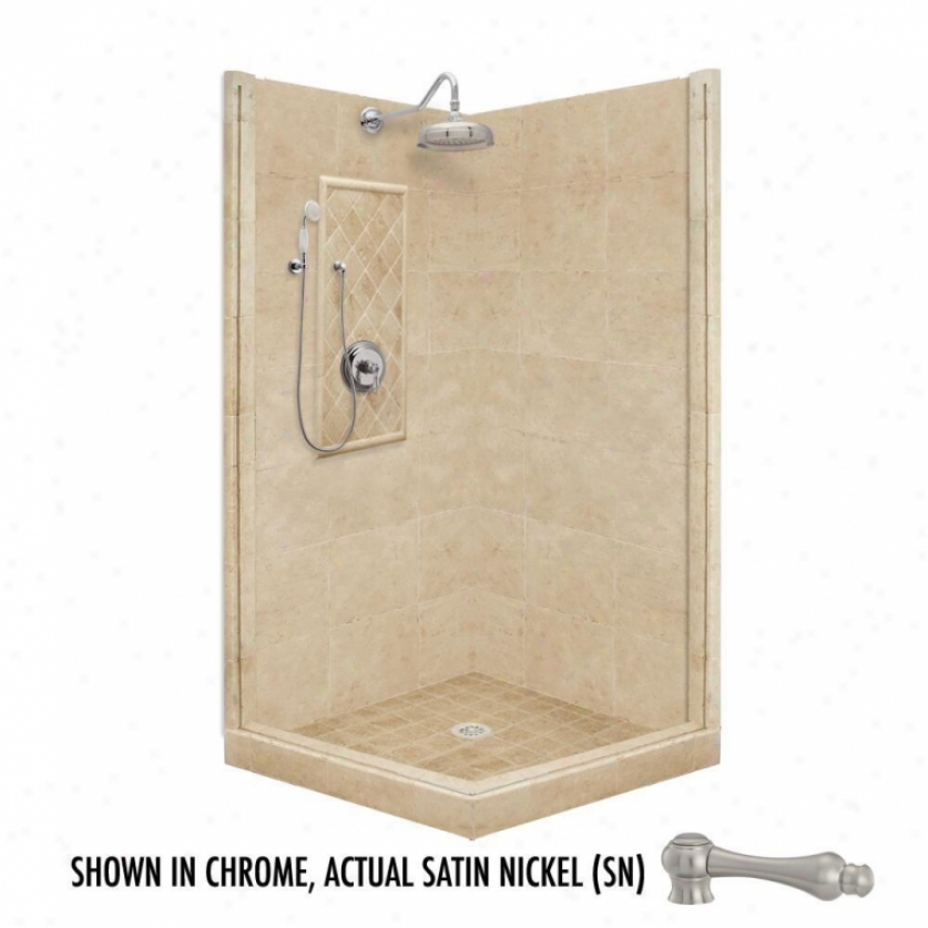 American Bath Factory P21-3225p-sn 60l X 48w Premium Shower Package With Satin Nickel Accessories