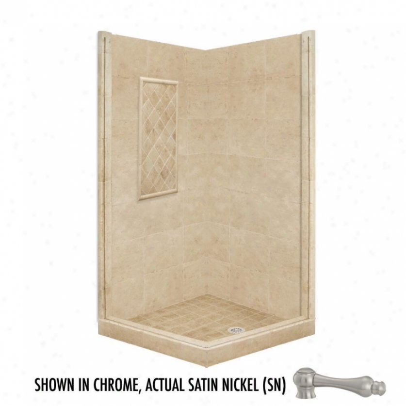 American Bath Factory P21-3320p-sn 60l X 36w Basic Shower Package With Satin Nck3l Accessories