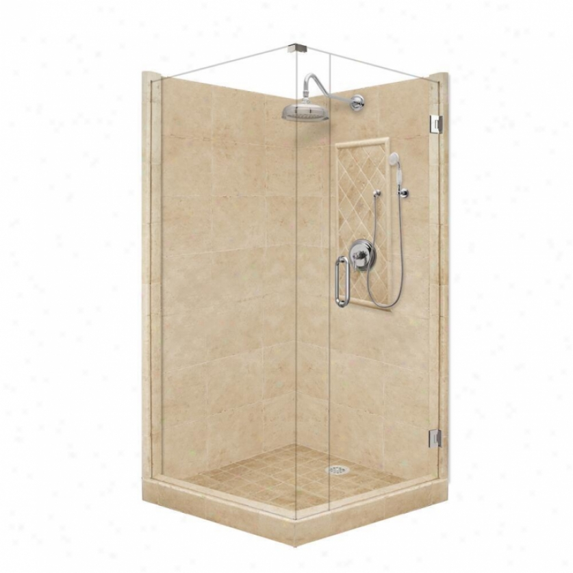 American Bath Factory P21-3503p-ch 60l X 30w Grand Shower Package With Chrome Accessories