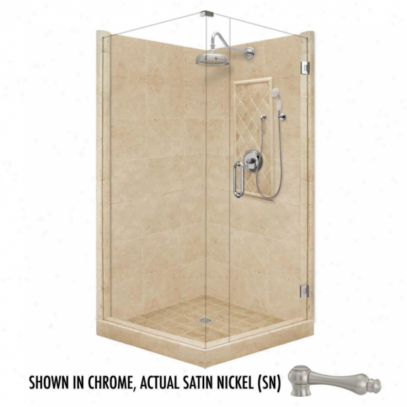 American Bath Factoey P21-3504p-sn 36l X 32w Grand Shower Package With Satin Nickel Accesories